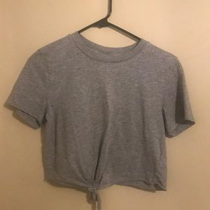 Topshop cropped tee. Grey. Size 2.